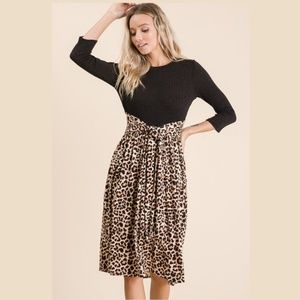 Cheetah /Animal Print Contrast Midi Dress